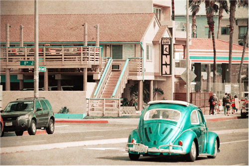 slug bug outside huntington surf inn